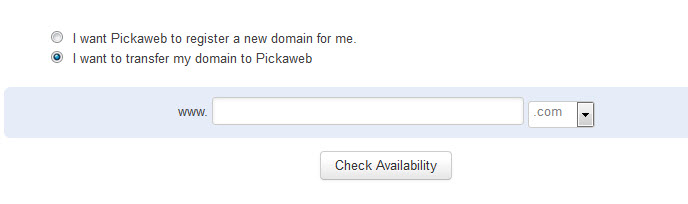 Select option to transfer domain to Pickaweb